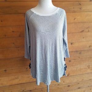 BKE Gray Stripe Side Lace Soft Knit Boho Blouse